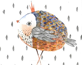 Bird Watercolor Painting Original - bird king portrait feather - Fine Art  drawing / home decor / gift idea / nursery decor by Nora
