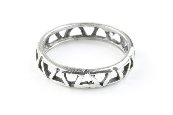 Sterling Silver Geometric Band Ring, Thumb ring, Western Ring, Simple Ring, Boho Ring, Gypsy Ring