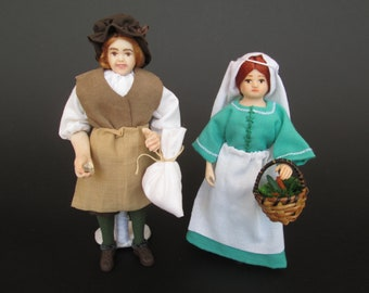 Miniature Medieval and Tudor handmade doll in 1:12 scale for dollhouse by Paola&Sara Miniature - Dolls, dollshouse, 1/12