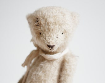 Made To Order Mohair Teddy Bear Silk Ribbon 8 Inches Handmade Toy Soft Toys Artist Teddy Bear Stuffed Animal Personalized Gift For Her