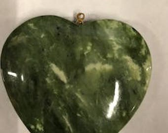 1 pcs  Large Genuine Jade Heart with peg, 52 x 52mm