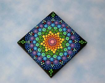 Mini Mandala 3x3 canvas dot art rainbow glow original wall art pointillism aboriginal hippie boho yoga meditation art SHIP FREE chakra art