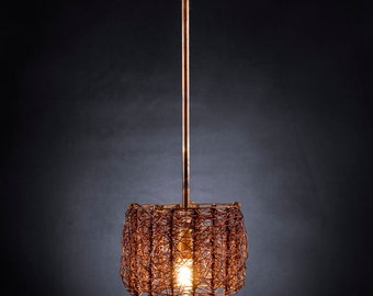 Boho Chic, One of a Kind Ceiling Fixture Home Light , Copper Pendant Light Fixture, Copper Hanging Light - Avigail's Lamp Shade