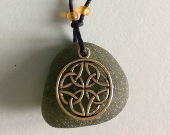 14K gold plated Celtic Seaglass charm necklace