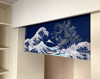 Godzilla noren curtain, japanese tenugui handmade noren, tsunami fabric, wall decoration, wall tapestry japanese noren fabric,  door curtain