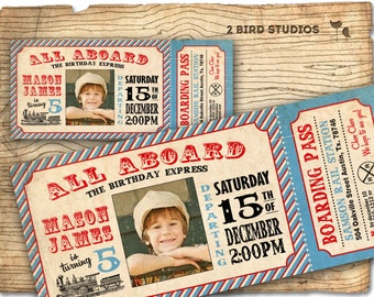 Vintage Train invitation - Train ticket invitation for birthday party -  DIY printable invitation invite