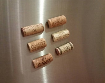 Set of Six Wine Cork Magnets / Wine Lover / Gift Idea / Home Decor / Stocking Stuffer