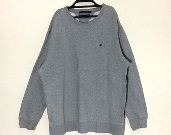 Rare!!! Tommy Hilfiger Box Logo Embroidered Sweatshirt Tommy Jeans Pullover Crewneck XL size Jacket Grey