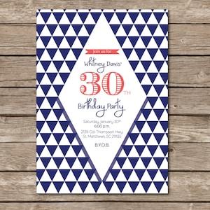 Surprise Birthday Party Invitation Dirty Thirty 30 Print Digital Custom Printable Triangle Diamond Modern