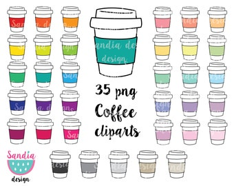 35 Doodle Coffee Cup Clipart, coffee cup clipart. Personal and comercial use.