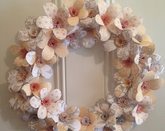 Wreath of Paper Flowers  Great for Mother's Day, Bridal Shower, Weddings or Special Gift.
