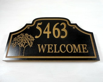 House Number Sign - Custom Address - Wood Address Sign - Outdoor Sign - Housewarming Present - Street Sign - Welcome Address Sign