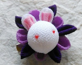 Tsumami zaiku Kanzashi flower brooch and hair clip  Bunny(Purple)
