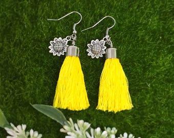 Tassel earrings - yellow with sunflowers