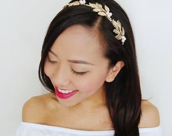 Gold Leaf Headband with White Pearls Hair Accessories - Wedding Headband, Gold Leaf Crown,  Bridesmaid Headpiece, Pearl Headpiece