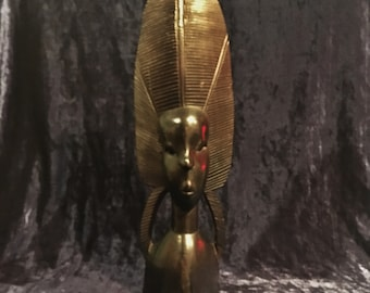 Vintage Hand Carved Ebony African Woman Wooden Sculpture From Africa