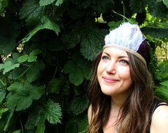 feather headband | feather headpiece | festival headdress | woodland party | wilderness | feather crown | outfit | festival costume