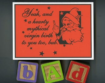 Atheist Christmas Card, Atheist Santa Claus Card