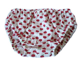 Baby Bloomers - 1 pair of bloomers - Nappy or Diaper Cover. Handmade. Size 12-24 months. Apples.  Busy Work.
