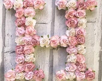 floral letter, flower letter, letter H, wooden letter, paper flowers, nursery decor, new baby decor, baby shower decor