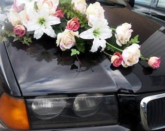 Wedding Car Decoration Long Bouquet Roses, Lilies, Vines