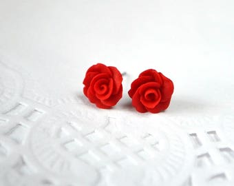 sister gift for her summer gifts children jewelry party earrings studs red flower polymer clay jewelry clay earrings stud red rose earrings