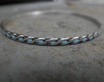 Enamel infinity bangle bracelet sterling silver