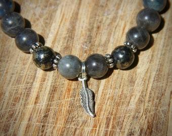 MENS Grade AAA Labradorite w Pyrite bracelet