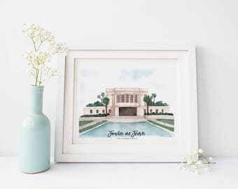 Mesa Arizona LDS Temple Watercolor Painting | LDS Wedding Gift | LDS Baptism Gift | Customized Temple Painting