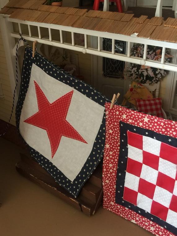 "Miniature Americana Star Quilt - 7"" x 7"""