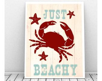 Beach Art, Beach Decor, Seaside Beach Art, Instant Download, Beach Art Print, Beach Picture, Beach House Decor, Crab Decor, Starfish Decor