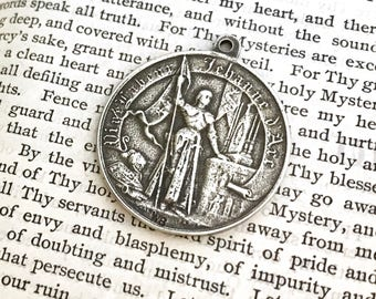 St. Joan of Arc - White Bronze - Religious Medal - Vintage Replica - Made in the USA