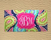 Personalized Beach Towel - Monogram Beach Towel - 30x60 Towel - Wedding Beach Towel - Bridesmaid Towels - Paisley Towel - Pink and Navy