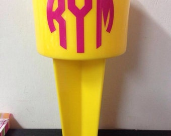 Monogram spiker beach cup holder
