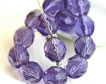 8mm Czech round beads, Purple Blue, violet beads, fire polished, faceted beads - 15Pc - 2730