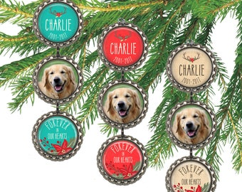 Pet memorial Christmas ornament, pet photo ornament, keepsake gift for dog lover, pet memory, cat ornament, personalized remembrance.