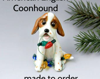 American English Coonhound PORCELAIN Christmas Ornament Figurine Made to Order