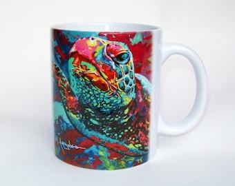 Sea Turtle Coffee Mug, Colorful Sea Tortoise Ceramic Coffee Mug