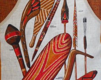 """Vintage Linen Apron  ~ """"Australian Aboriginal Weapons"""""""