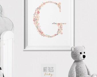 Flower Initial print, Nursery print, Poster, nursary art, Wall Art, Kids room, wall decor, flower monogram, Nursery Decor, ArtFilesVicky