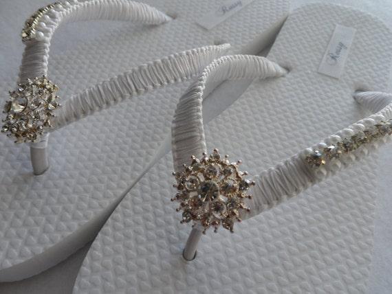273839414 ... Bridesmaid Wedding Flops Shoes Bridal White Rhinestone Flip White  Pearls Flip Sandals Color Flops amp  ...