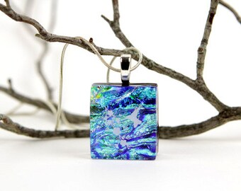 Hummingbird Dichroic Pendant- Fused Glass Jewelry- Dichroic Hummingbird Necklace-Fused Glass Pendant- Fused Glass Necklace