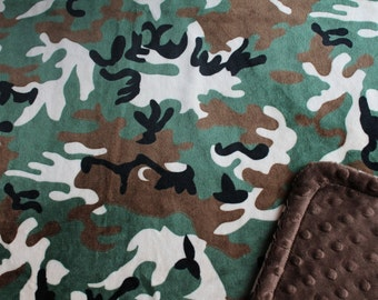 Minky Blanket Camo Print Minky with Brown Dimple Dot Minky Backing - Great Gift for a Toddler or Child 36 x 42