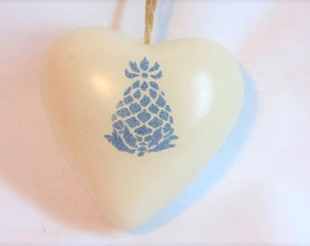 Heart Shaped Stoneware Reloadable Fragrance Sachet with Stamped Pineapple, Made in Taiwan Closet or Drawer Sachet, Home Decor Hanging Sachet