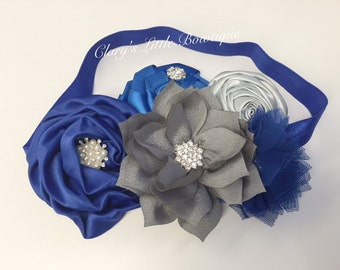 Royal Blue and Silver headband, Smash Cake Pictures, Holidays Headband, New Year, Christmas, Toddler, FlowerGirl, Props, Rhinestones, Fancy
