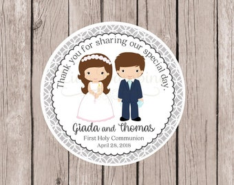 PRINTABLE First Holy Communion Favor Tags / Tags in Silver Gray for Twins, Siblings, Cousins / Choose Hair & Skin Color / You Print - HC11