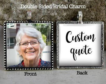 Bridal Bouquet Charm, Custom Quote, Photo Charm, Memorial Charm, Bridal Charm, Boutonniere Charm, Lapel Charm, Add Your Own Custom Quote