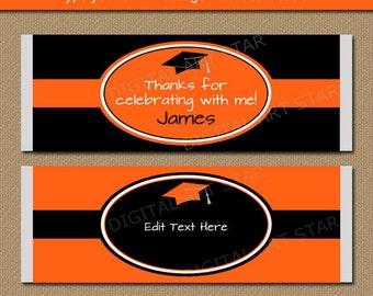 Orange and Black Graduation Candy Bar Labels - Printable Graduation Candy Wrappers - Graduation Favors - EDITABLE PDF - Instant Download G5