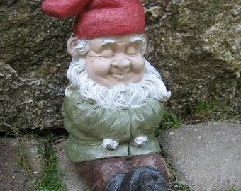 Garden Gnome Sleeping, Concrete Gnome Resting, Garden Decor, Garden Gnomes, Cement Gnome, Garden Statues, Yard Art, Home Decor, Gardener.