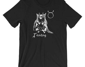 Funny Taurus Cat Zodiac May Shirt Birthday Gift